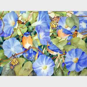 Bluebirds, Butterflies and Blooms