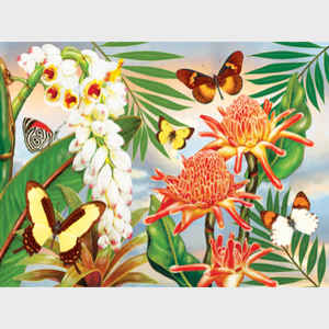 Butterflies with Torch Ginger