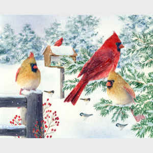 Cardinals in Snow Flurry