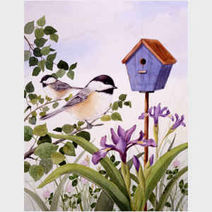 Chickadees and Iris