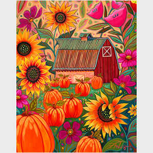 Glorious Red Barn Pumpkin Patch