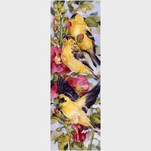 Goldfinches and Hollyhocks