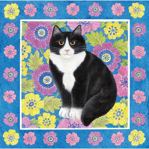Kitty in Spring Flowers I