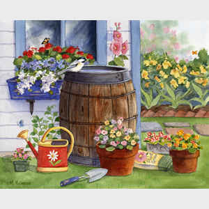 Rain Barrel and Window Box