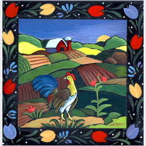 Rooster Tulips Tile