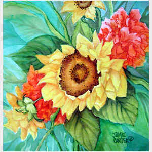 Sunflowers and Peonies