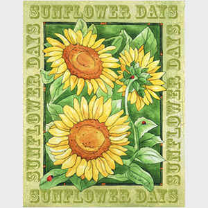 Sunny Sunflower Days II with border