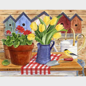 Tulips in Blue Coffeepot