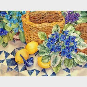 Violets and Lemons with Bluebird