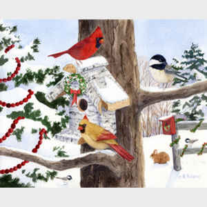 Winter Birdhouse and Cardinals